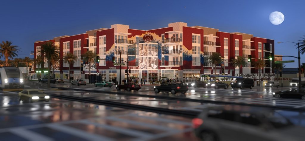 Artist rendering of front of building from across street