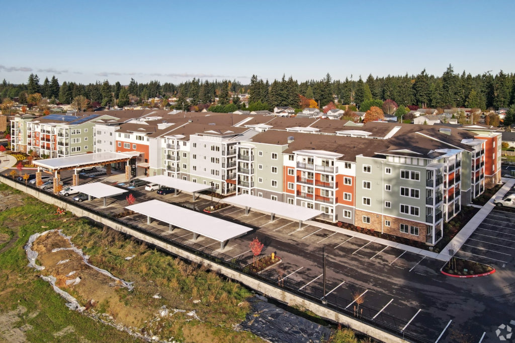 Arial view of a completed housing project