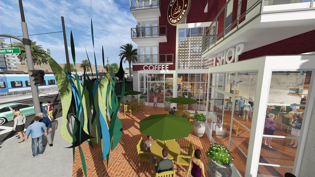Artist rendering of coffee shop