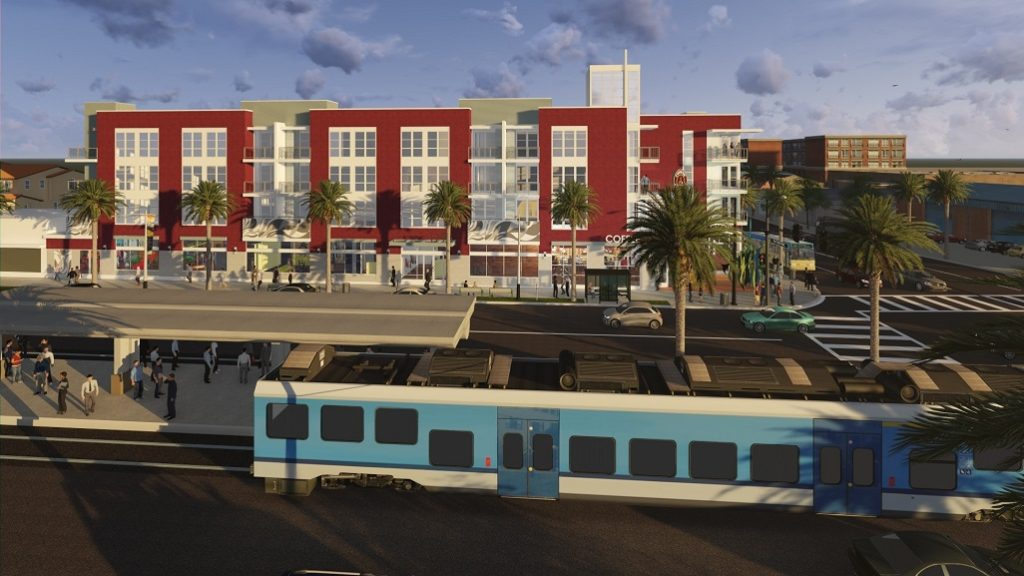 Artist rendering of side of building with Metro Blue Line light rail transit stationin the foreground.