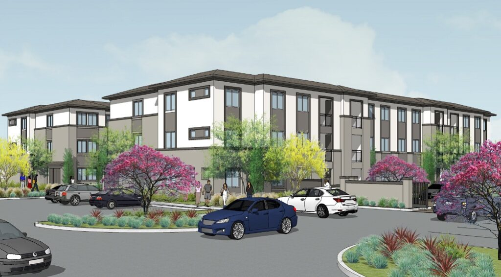 Antioch apartments three-story artist's depiction. View shows the building with a driveway in the foreground and cars parked.